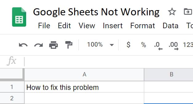 La solución de problemas de Hojas de cálculo de Google no funciona