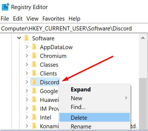 Editor de registro de Discord