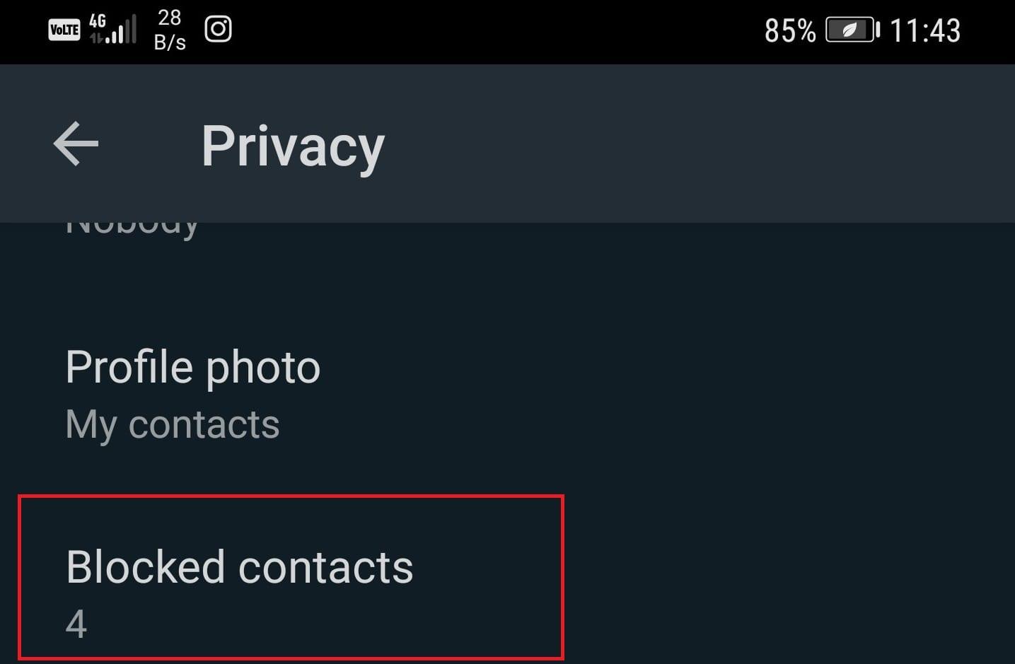 Configuración de privacidad de WhatsApp
