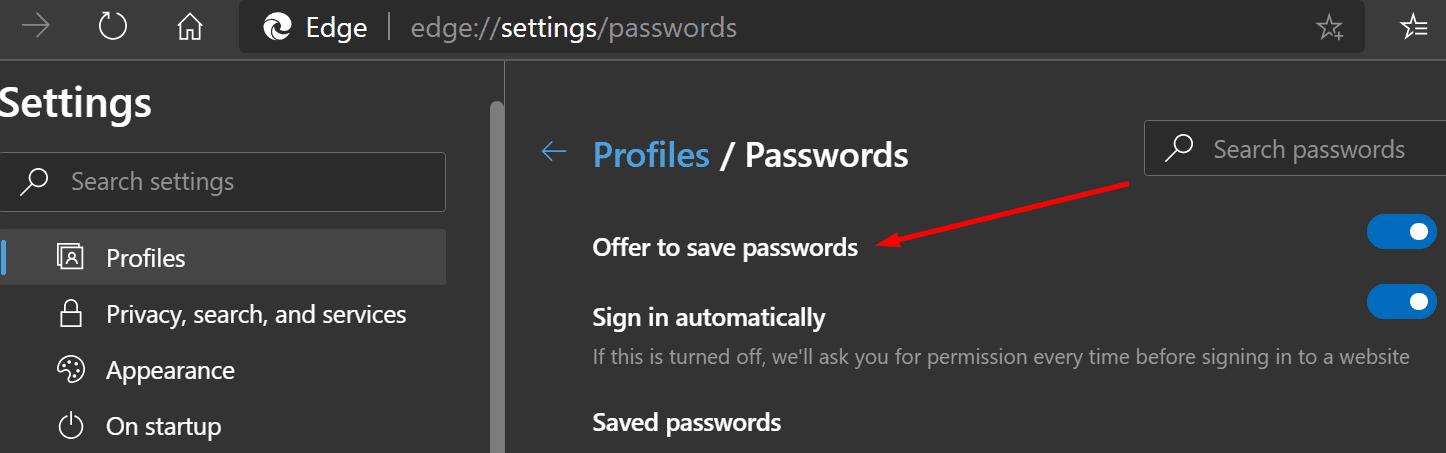 Oferta para guardar contraseñas del navegador Edge