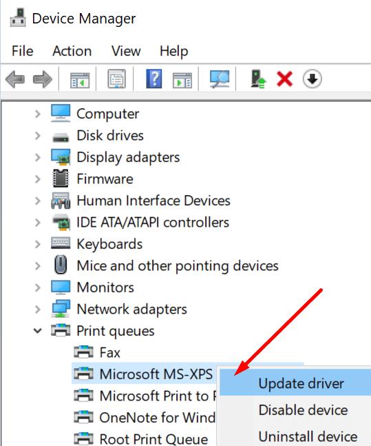 Actualice los controladores de impresora de Microsoft XPPS