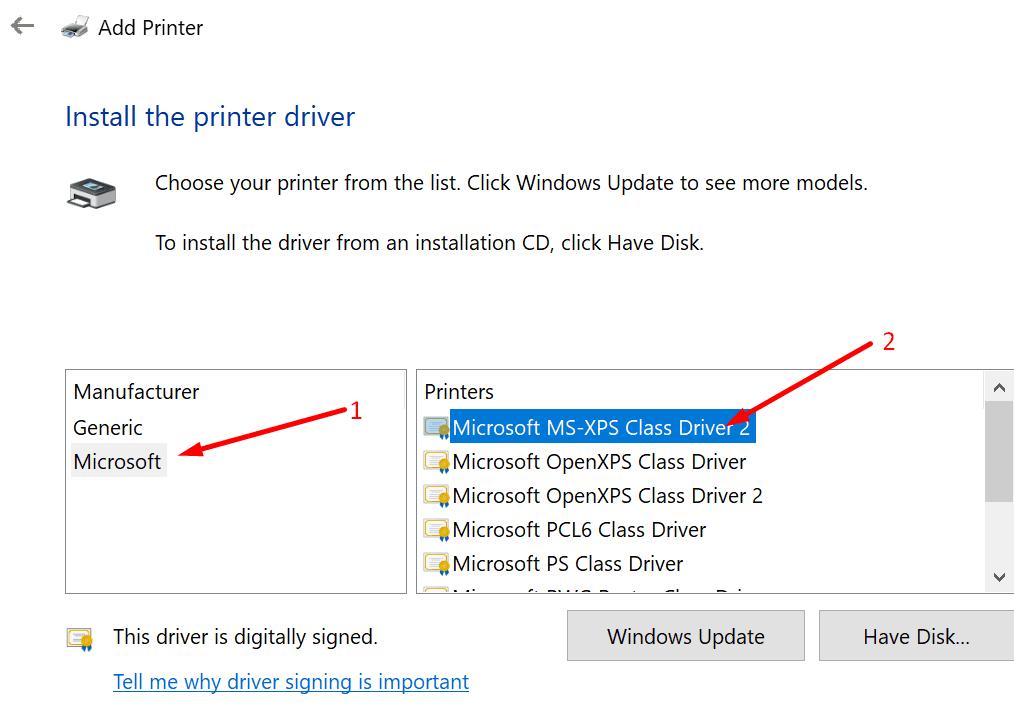 Agregar controlador XPS de Microsoft