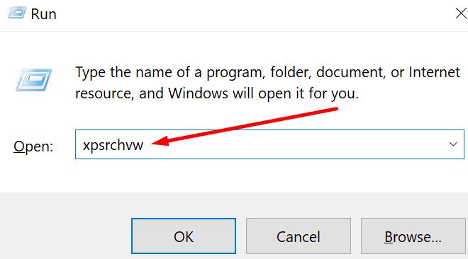 Abra la ventana para ejecutar el visor xps