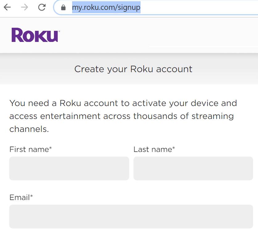 Crea una cuenta de Roku