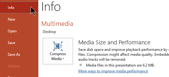 Medios de compresión de PowerPoint