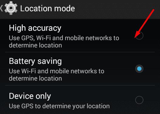 Modo de alta precisión Android
