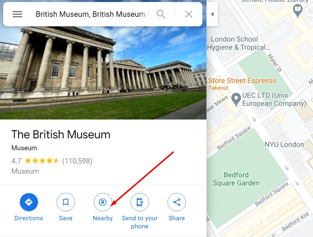 Google Maps cerca de lugares de interés