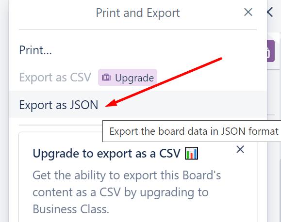 exportar trello como json