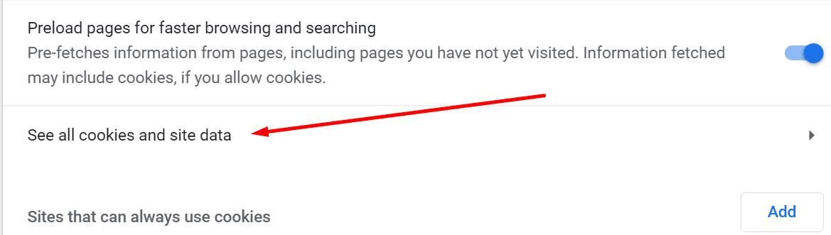 Ver todas las cookies y los datos del sitio en Chrome