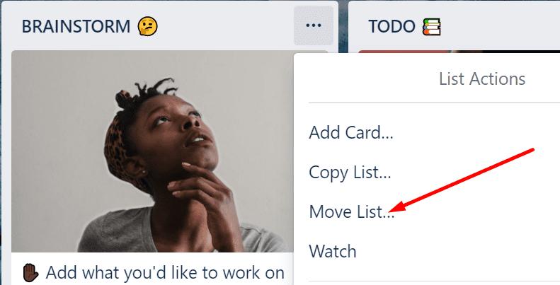 Opción de lista de movimientos de Trello