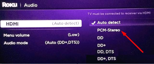 Configuración estéreo PCM roku