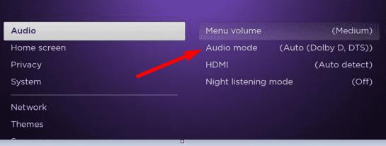 Configuración del modo de audio de Roku