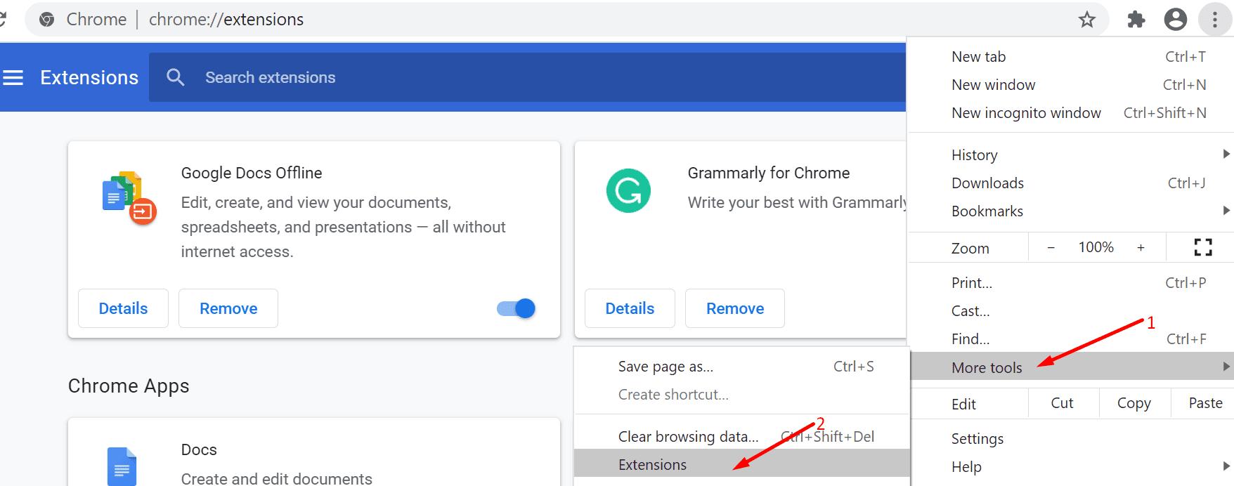 Google Chrome más extensiones de herramientas