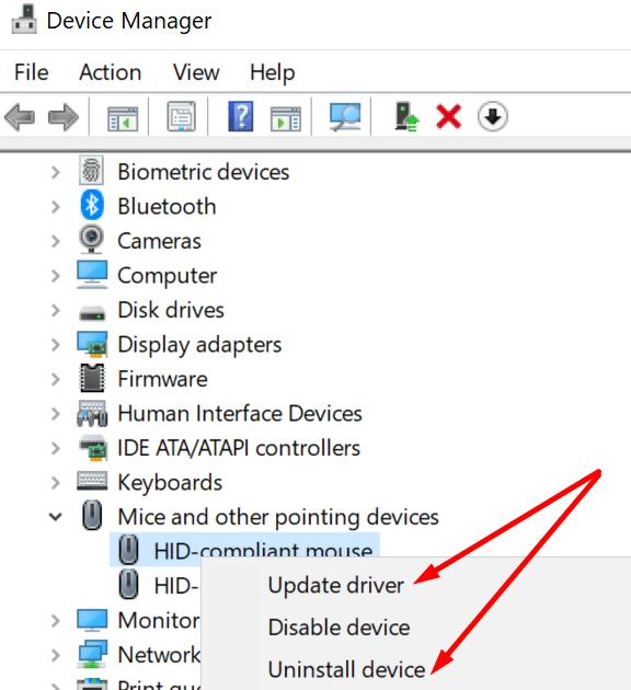 Actualizar reinstalar el controlador del mouse