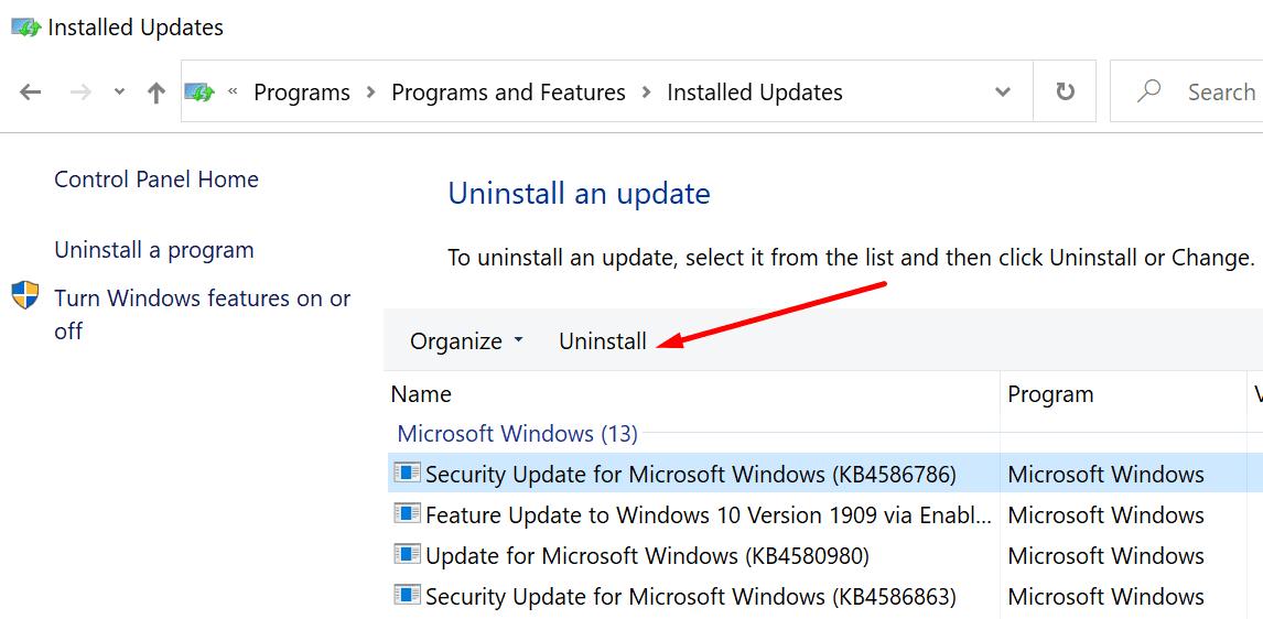 Desinstalar la actualización de Windows 10