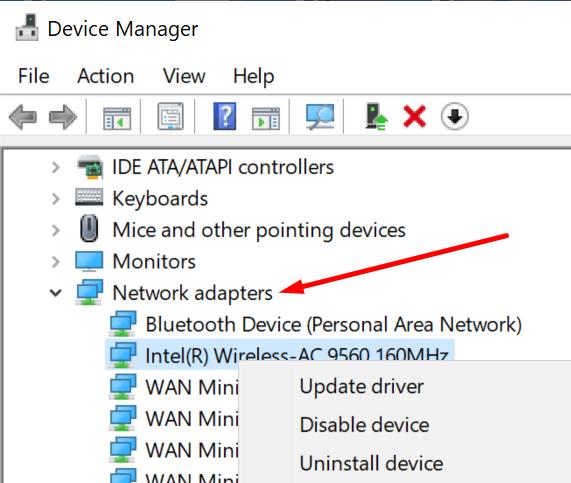 Actualice la PC del controlador del adaptador de red