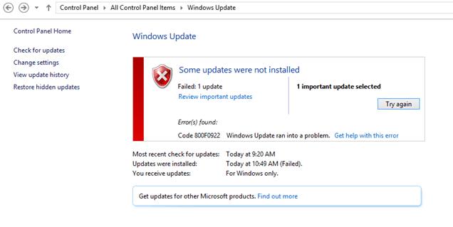 Arreglando el error de actualización de Windows 10 800F0922