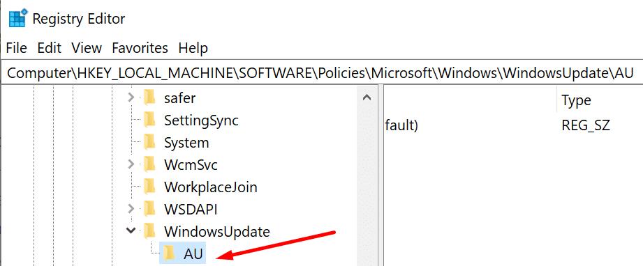 Editor de registro de claves de WindowsUpdate