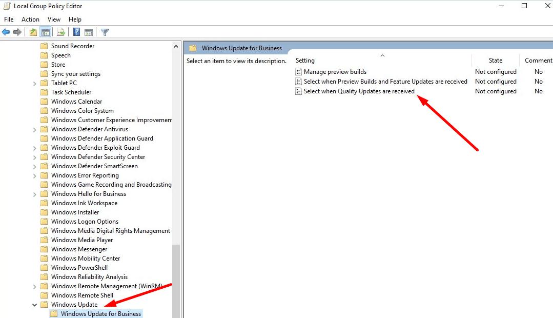 Seleccione Cuándo se reciben actualizaciones de calidad Windows 10 gpedit