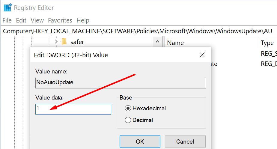 No habilite una clave de registro de actualización automática