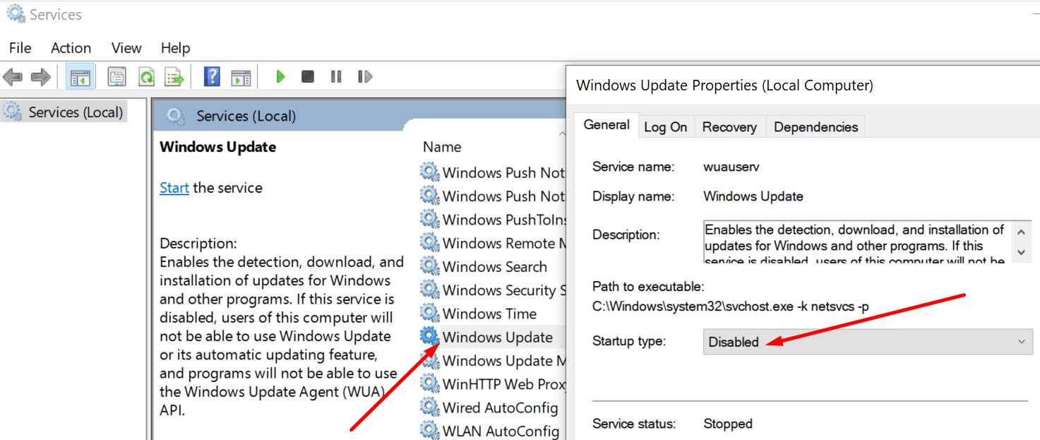 Deshabilitar el servicio de actualización de Windows