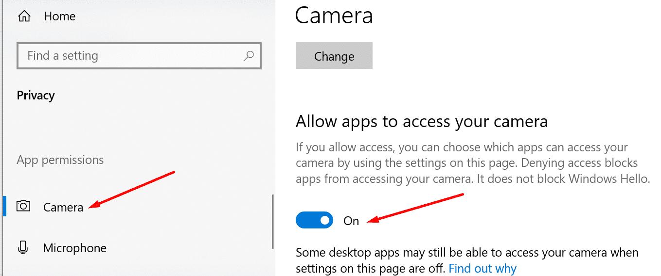 Ajustes para la privacidad de la cámara