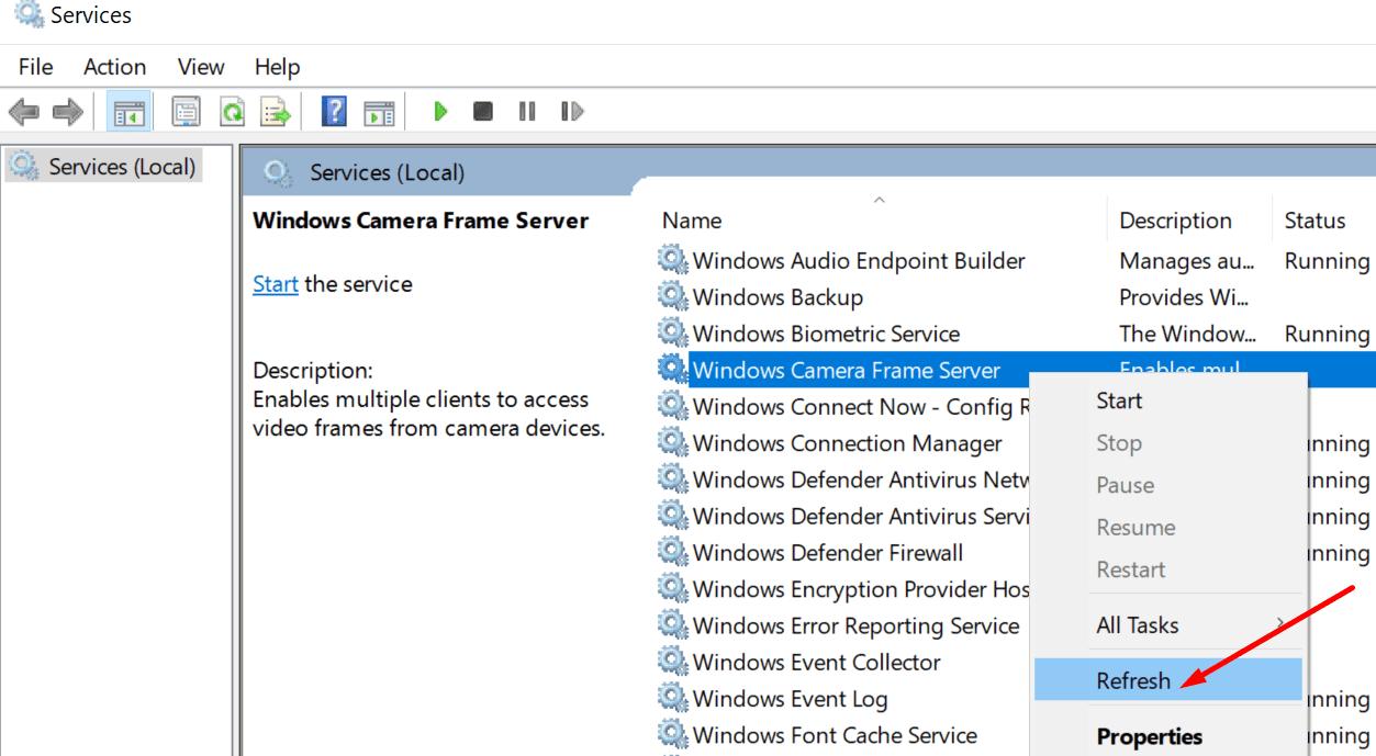 Actualizar el servicio de Windows Camera Frame Server