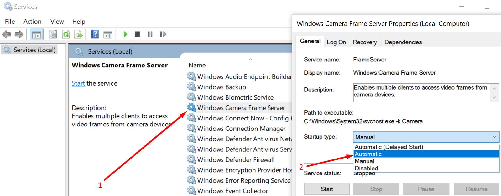 Servicio de Windows Camera Frame Server