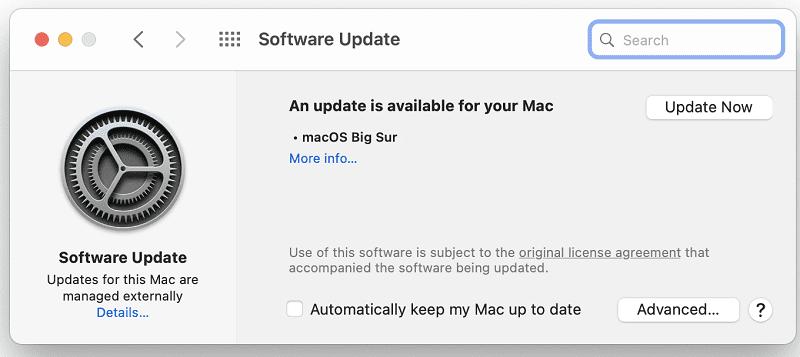 Actualizar la versión de MacOS