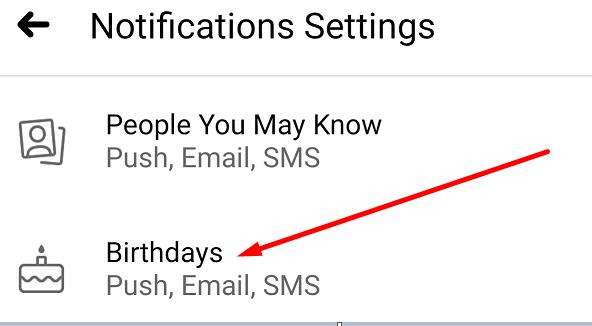 Configuración para notificaciones de cumpleaños de Facebook