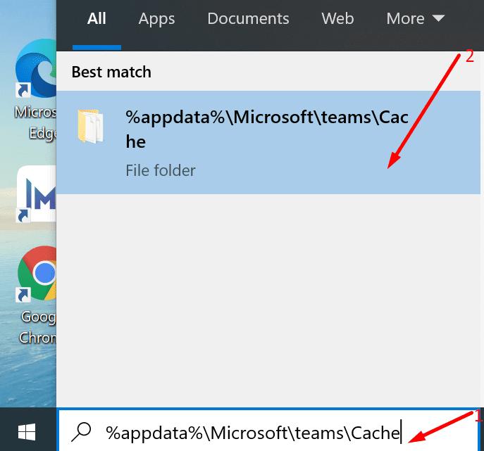 Carpeta de caché para Microsoft Teams