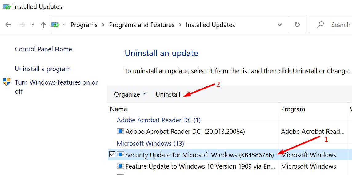Desinstalar las actualizaciones de Windows en el panel de control