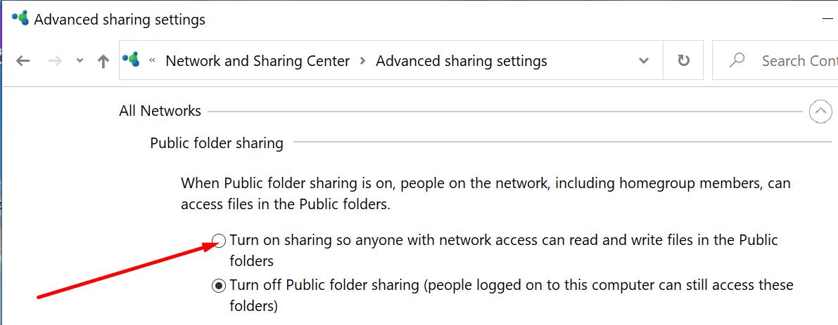 Habilitar el uso compartido de carpetas públicas