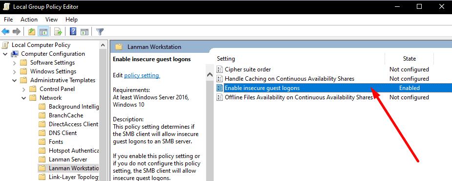 Habilite Windows 10 para inicios de sesión de invitados inseguros