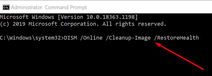 dism estado de recuperación de Windows 10
