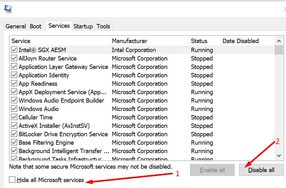 Ocultar todas las configuraciones del sistema de servicios de Microsoft