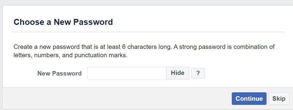 Crea una nueva contraseña de Facebook