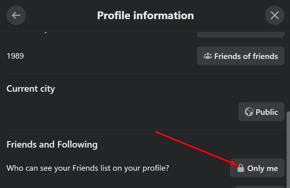 Facebook ocultar lista de amigos
