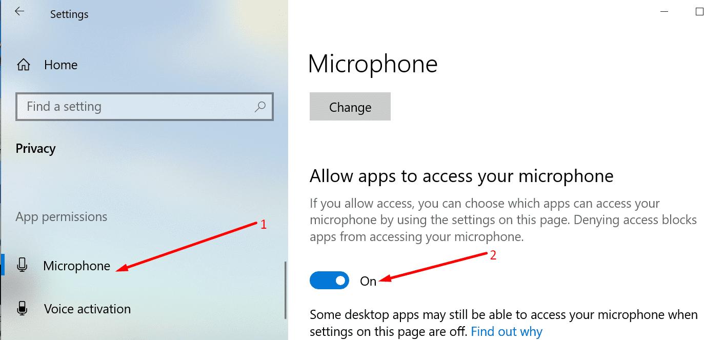 Permitir que las aplicaciones accedan al micrófono de windows 10