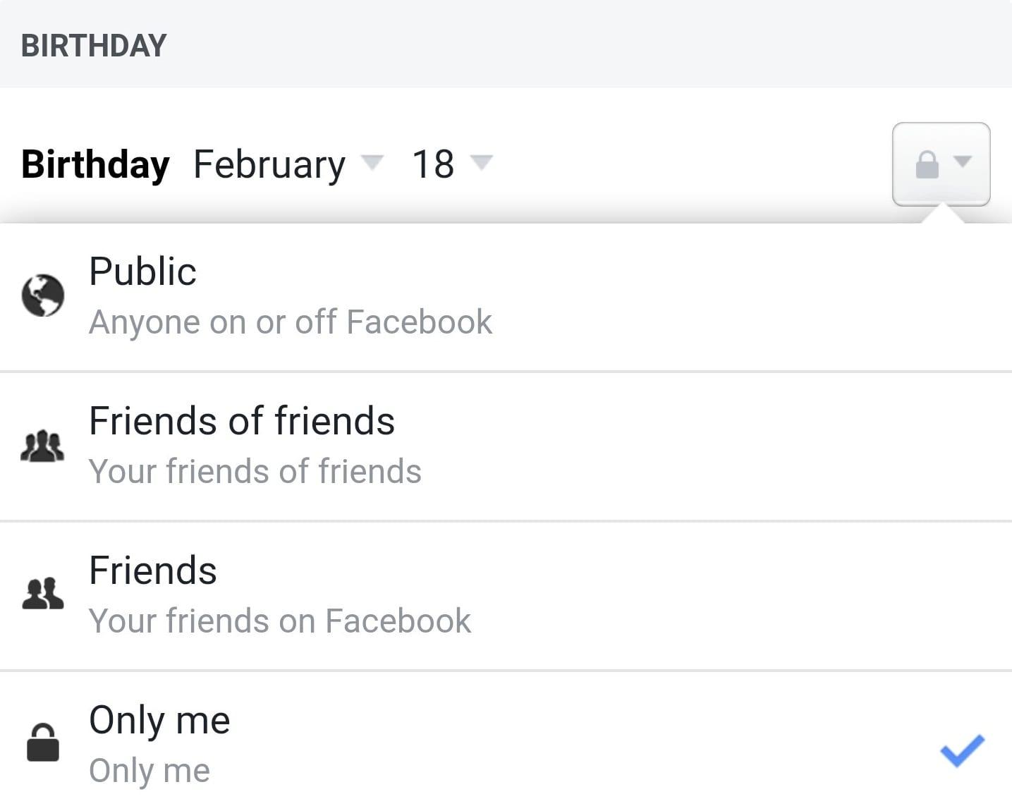Facebook muestra cumpleaños solo para mí