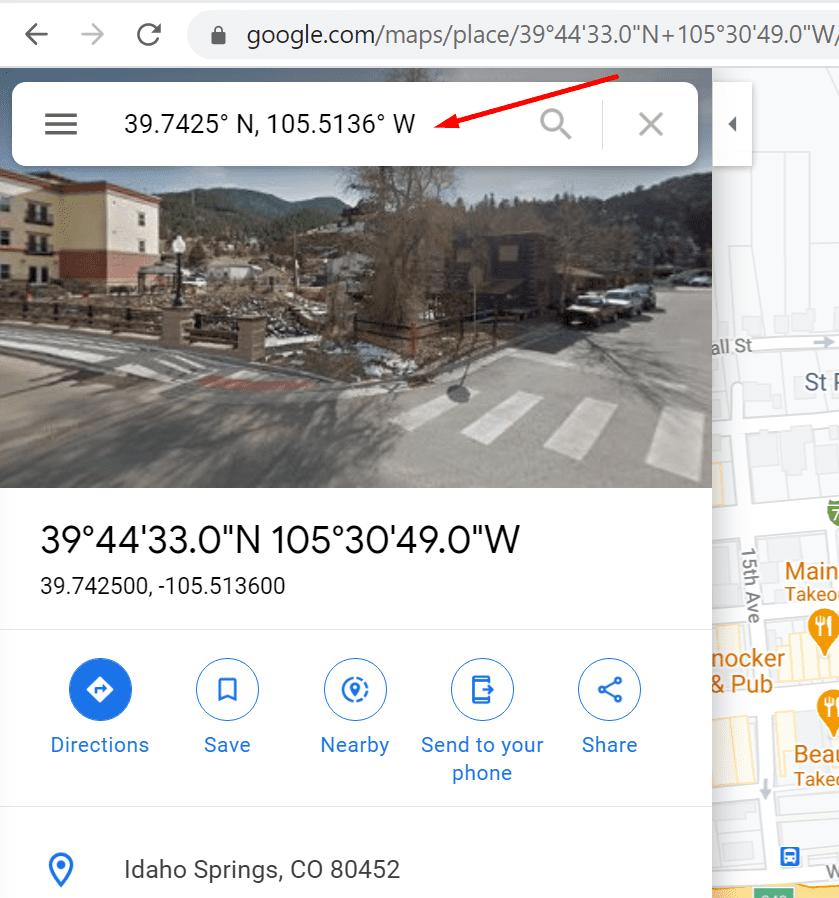 Buscar coordenadas de Google Maps