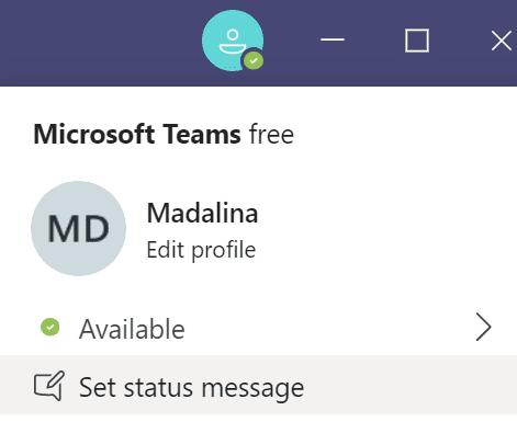 Establecer mensaje de estado Microsoft Teams