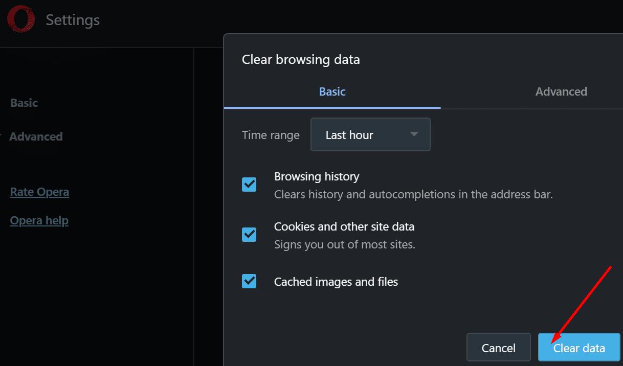 Borrar los datos de navegación del navegador Opera