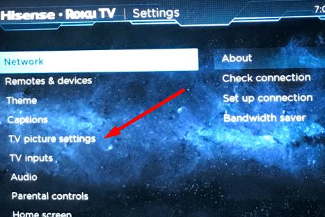 configuración de imagen de tv roku