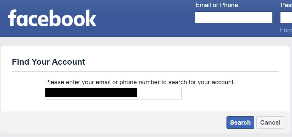Encuentra una cuenta de Facebook