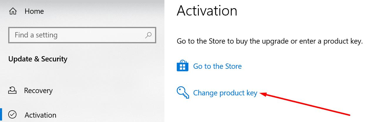 Activación de Windows 10 cambiar clave de producto