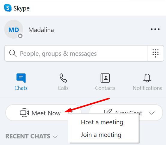 Skype Reunirse ahora Organizar unirse a la reunión