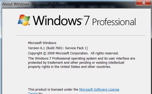 Información del paquete de servicio de Windows 7