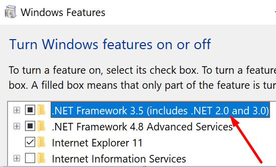 Habilitar Net Framework 3.5