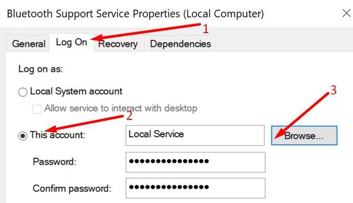 Propiedades del servicio de soporte de Bluetooth